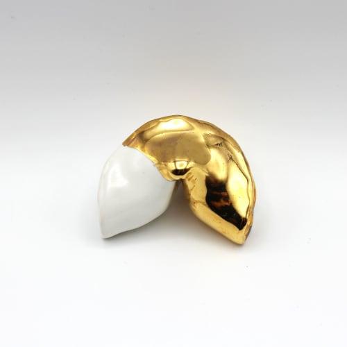 Sculptures by Casey Lin Art seen at Creator's Studio, Brooklyn - Half Gold Fortune Cookie