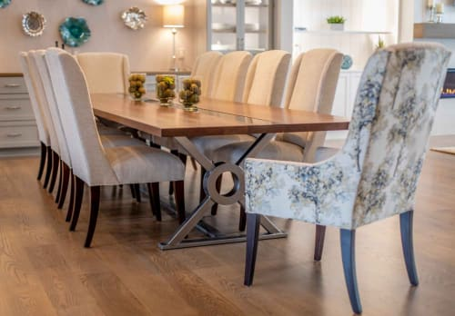 Tables by Lane 17 Design Co. seen at Private Residence, Chagrin Falls - Walnut & Steel Dining Table