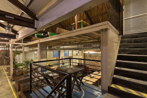 Architecture by patch design studio seen at OML Entertaiment Private Limited, Mumbai - OML: Adaptive reuse of defunct old mill buildings.