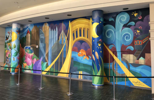 Murals by Gregg Valley seen at The Mall at Robinson, Pittsburgh - A Day in Pittsburgh