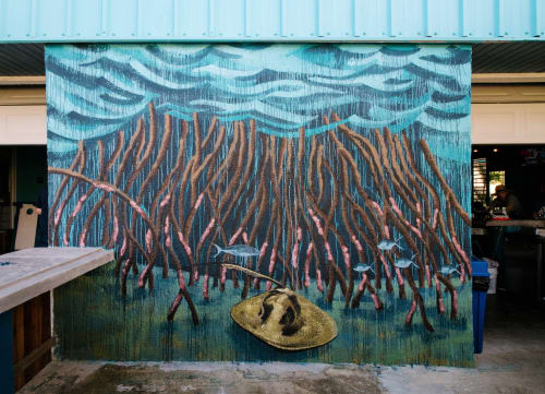 Murals by Kai'ili Kaulukukui seen at Private Residence, Frederiksted - THE MANGROVE NURSERY