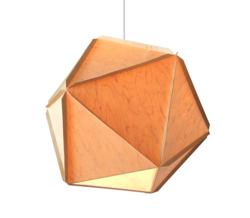 "Pendants by Modernmaine seen at Maine Craft Portland, Portland - ""Woodhedron"" and ""Bottoms Up"" pendant lights"