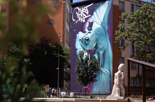 Murals by Kalouf seen at Lyon, Lyon - le combattant