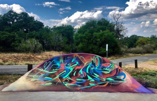 Street Murals by Sloke One seen at P Squared Skate Park, Cottonwood Shores - CountryMan