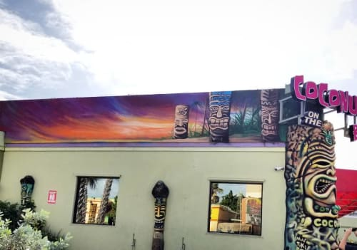 Murals by Kole Trent seen at Coconuts on the Beach, Cocoa Beach - The Tikis at Coconuts on the Beach