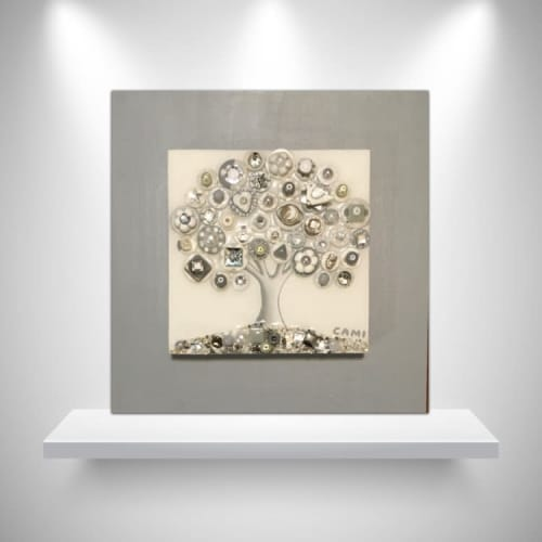 """Paintings by Cami Levin seen at Creator's Studio, Dana Point - """"Frosted Moon"""" - 10x10"""""""