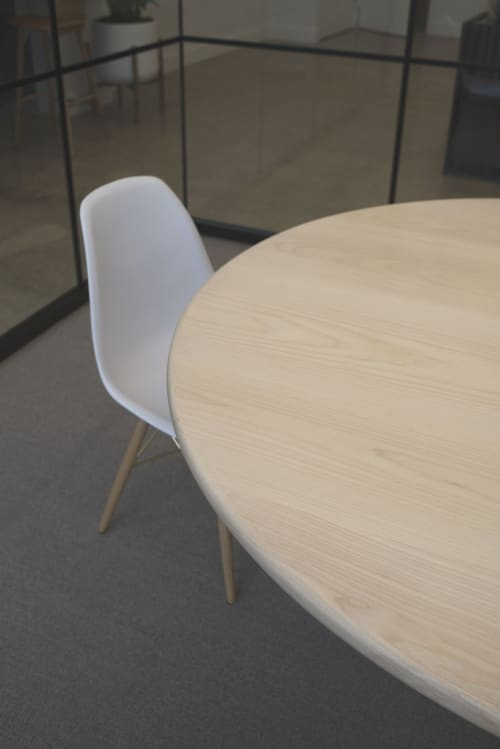 Tables by Asa Pingree seen at FinTech Collective, New York - Physalia Round Table in Ash
