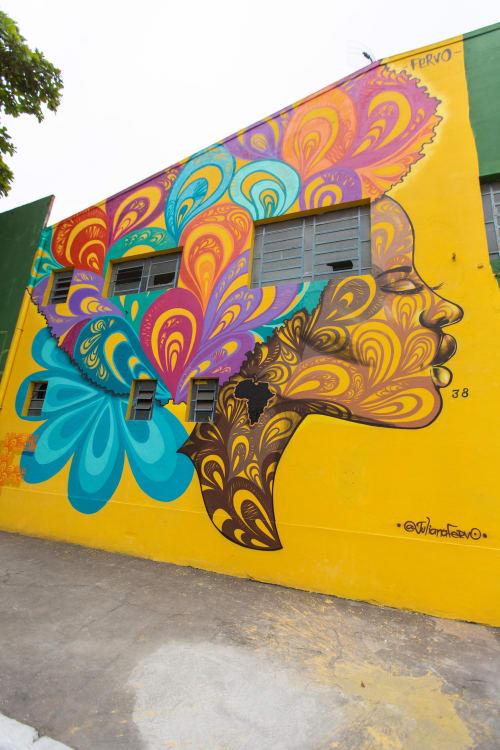 Street Murals by Juliana Fervo seen at Rua José Figueiredo, Centro - Janelas da Alma - 100% Spray