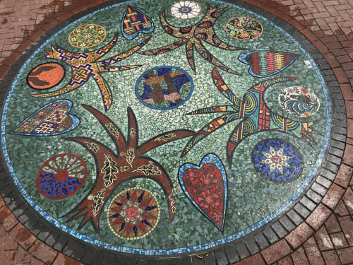Public Mosaics by Claire Cotterill seen at Caldmore Green, Walsall - Dreaming The Green