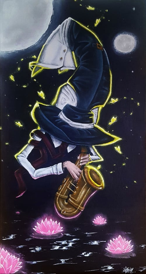 Paintings by Hozek seen at Montreal, Montreal - Le saxophoniste