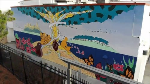 Murals by Strider Patton seen at Fremont High School, Oakland - Exterior Mural