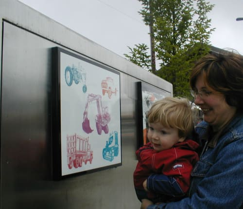 Public Mosaics by Cynthia Lahti Fine Art at N Lombard TC MAX Station, Portland - Happy Five