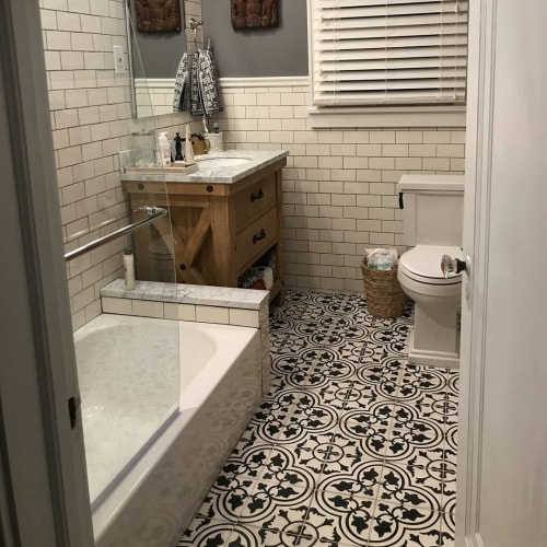 Tiles by Avente Tile seen at Private Residence, Maplewood - Mission Roseton C Encaustic Cement Tile