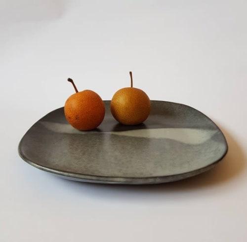 Ceramic Plates by ShellyClayspot seen at Creator's Studio, Kiryat Gat - Set of Four Square Wabi Sabi Black Ceramic Dinner Plates