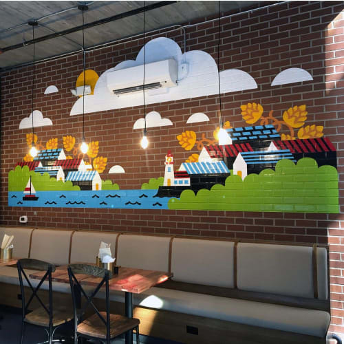 Murals by Sasha Barr Illustration & Design seen at Redhook Brewlab, Seattle - Redhook Brewlab Murals