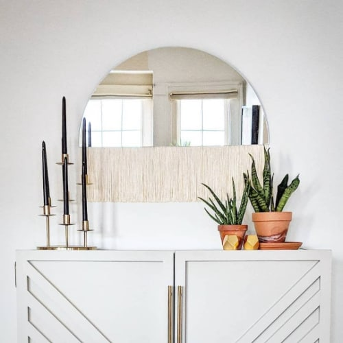 """""""Aria"""" Solo-Modern half circle mirror brass mirror fringe   Wall Hangings by Candice Luter Art & Interiors"""