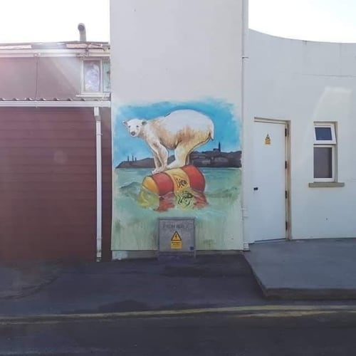 Murals by Rod Coyne seen at Sandcastle, Tramore - Bear mural