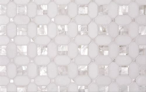 Tiles by Tile Club seen at Private Residence, Atlanta - Geometric Pearl White Thassos Shell Backsplash | Tile Club