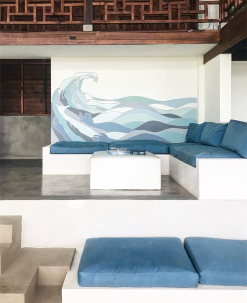 Murals by Allison Kunath seen at Hulakai Hotel, San Juan del Sur - Party Wave