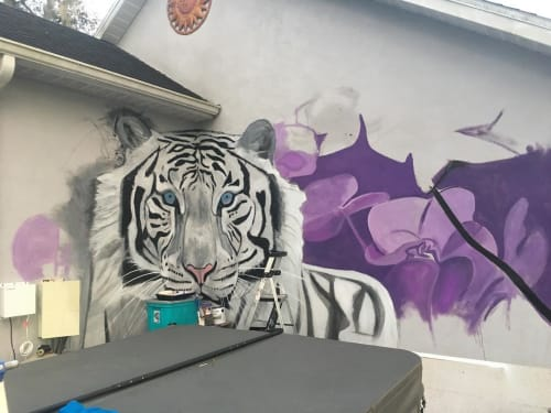 Murals by Truman Adams seen at Private Residence, Sarasota - White Tiger Mural