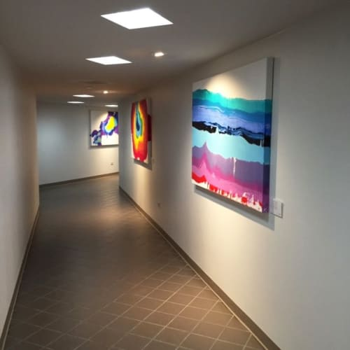 Paintings by Hallie Hamilton Art seen at Bank of America Financial Center, Midland - Energy I Series