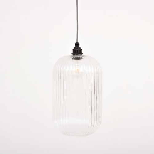 Pendants by Spark & Bell seen at Private Residence - Long Reeded Glass Cylinder Pendant Light