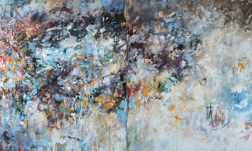 "Paintings by Katy Kuhn seen at Private Residence - ""Pirhouette in Early Spring"" 72"" x 120"""