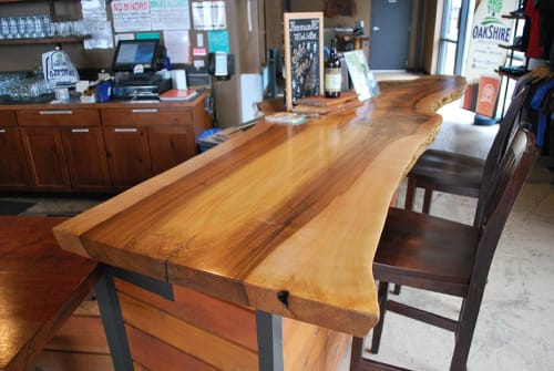 Tables by Urban Lumber Co. seen at Oakshire Brewing, Eugene - Oakshire Brewing Company