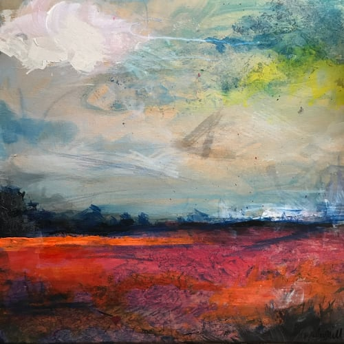 Paintings by Tipperleyhill seen at Private Residence, Bristol - Abstract landscape, 'The Scarlet Field', mixed media