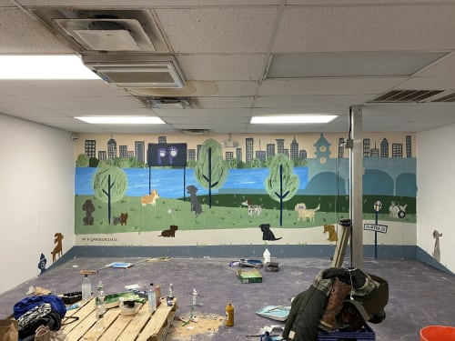 Murals by Andrea Caceres seen at Dog Grooming Hoboken - Playful Paws USA, Hoboken - Playful Paws