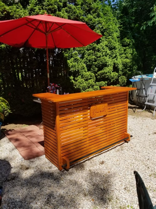 Furniture by Mw Hunter custom Woodworking seen at Private Residence, Barre - Tiki bar