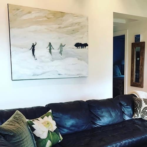 Paintings by Karen Bezuidenhout seen at Private Residence, Montecito - Surfer Girls