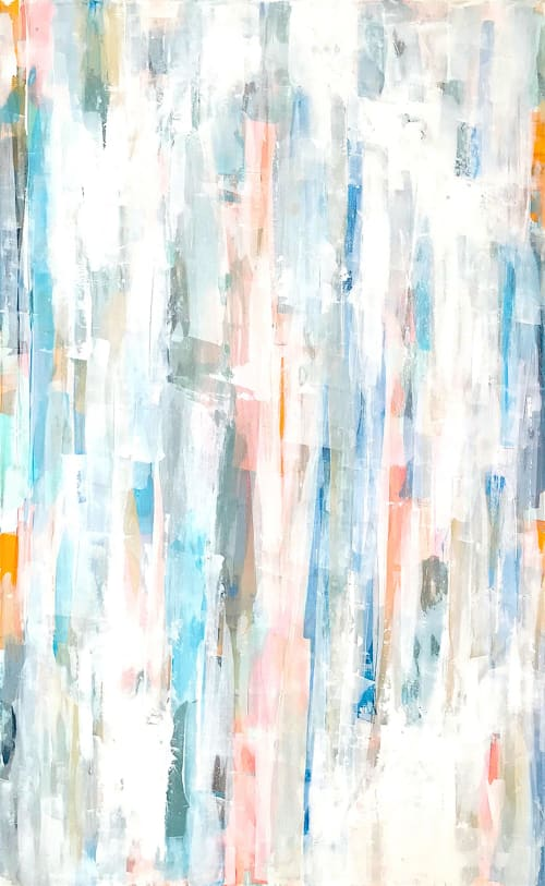 Paintings by Linnea Heide contemporary fine art seen at Private Residence, Dallas - 'SUMMER BREEZE' original abstract painting by Linnea Heide