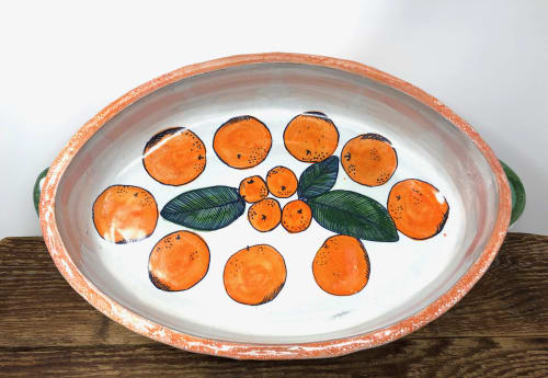 Ceramic Plates by Liz Noonan Ceramics seen at Private Residence, Maplewood - Orange Baker