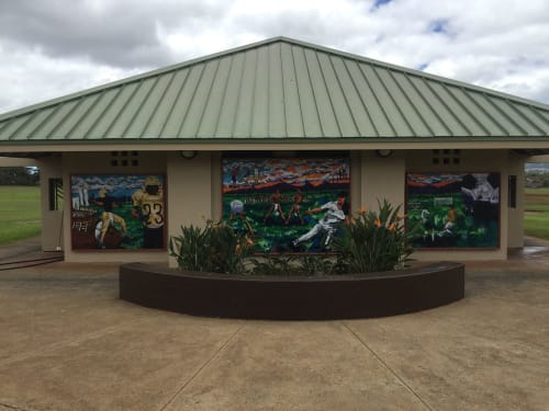 "Murals by Kai'ili Kaulukukui seen at Mililani Mauka District Park, Mililani - ""Games of Mililani"""