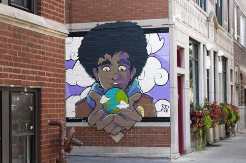Street Murals by Rachel Nurmi seen at 1818 W Montrose Ave, Chicago - Apocalypse Boy Takes The World