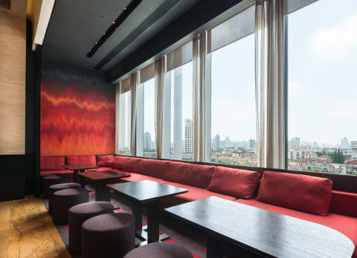 Wall Treatments by Elsa Jeandedieu Studio at Shanghai, Shanghai - Red and Gold Leaf Wall Paint