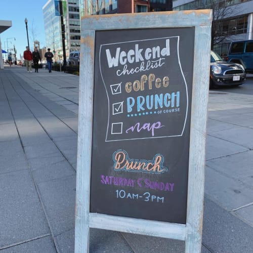 Signage by Draw Life Freely Art & Design seen at CIRCA at Navy Yard, Washington - Brunch Chalkboard - Checklist Theme