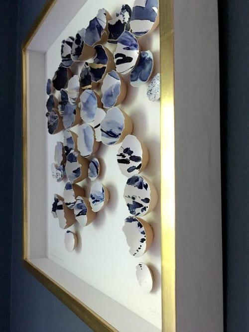 Art & Wall Decor by Elisa Sheehan seen at Private Residence - Kintsugi Eggshells Indigo and Gold