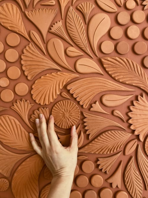 Terra Cotta Mandala by Anastasia Tumanova, in a San Francisco home.