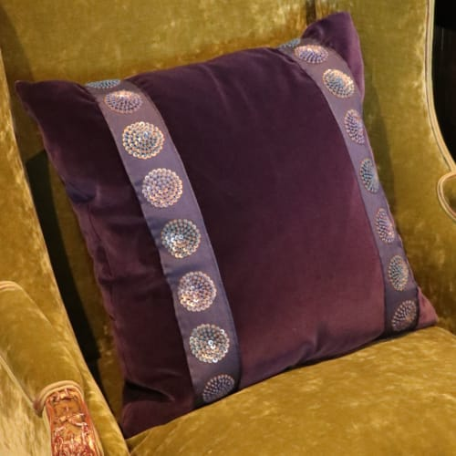 Pillows by Jonathan Rachman Design seen at SF Decorator Showcase 2019, San Francisco - Purple Pillow