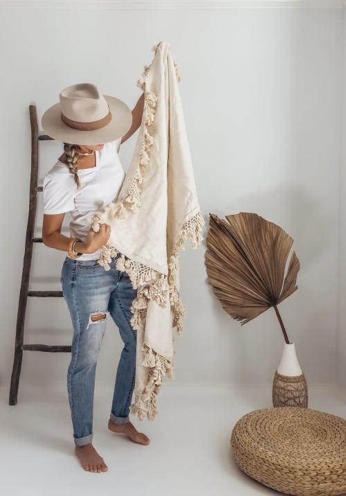 Linens & Bedding by Coastal Boho Studio seen at Creator's Studio, Destin - Kona Throw Blanket - Multipurpose