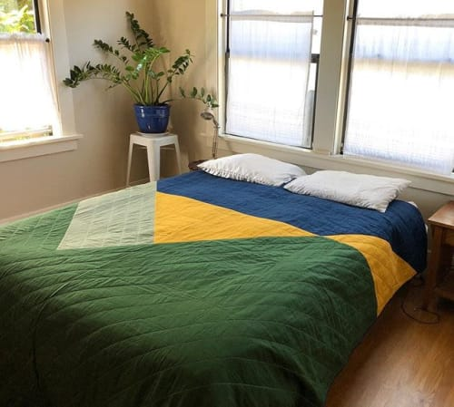 Linens & Bedding by Vacilando Quilting Co. seen at Private Residence, Berkeley - J + C Custom Queen Quilt