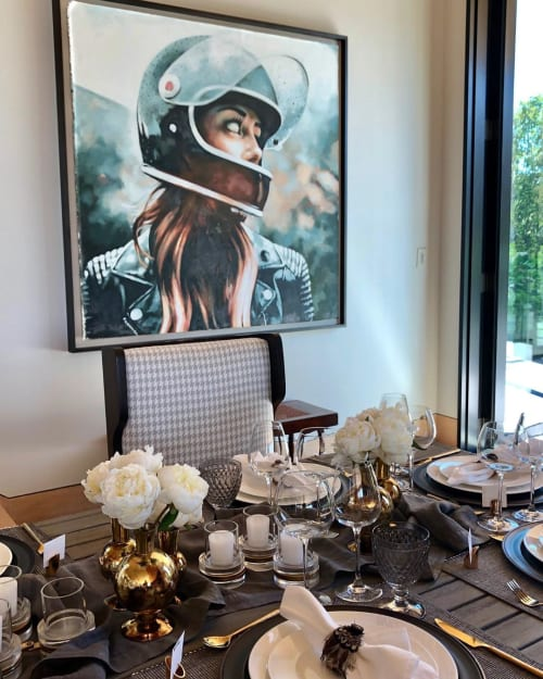 Paintings by Thomas Saliot seen at Private Residence, Bridgehampton - Black Helmet Girl