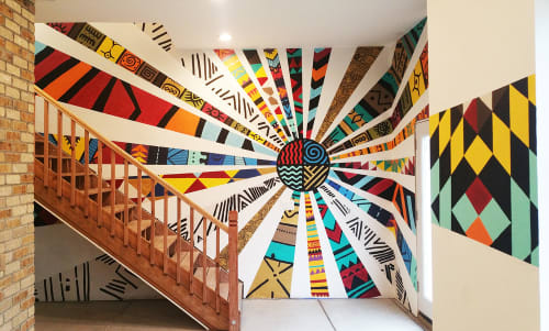 Murals by Katy Casper seen at Private Residence, Denver - Tribal Connection