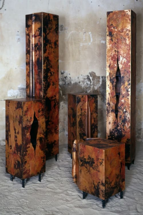 Furniture by Wout Wessemius seen at Private Residence, Dalen - Patinated Copper Cupboards