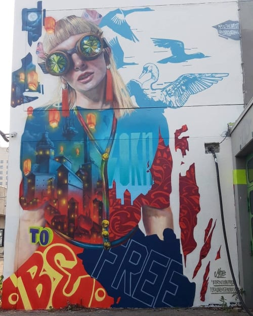 "Street Murals by MATE artist seen at Spandau, Berlin - ""Born to be free"""