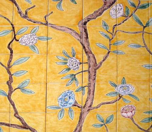 Tiles by Reptile Tiles seen at Private Residence, London - Chinoiserie tiles