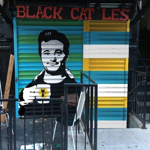 Street Murals by Kim Sillen Art  + Design seen at Black Cat LES, New York - Bill Murray Gate
