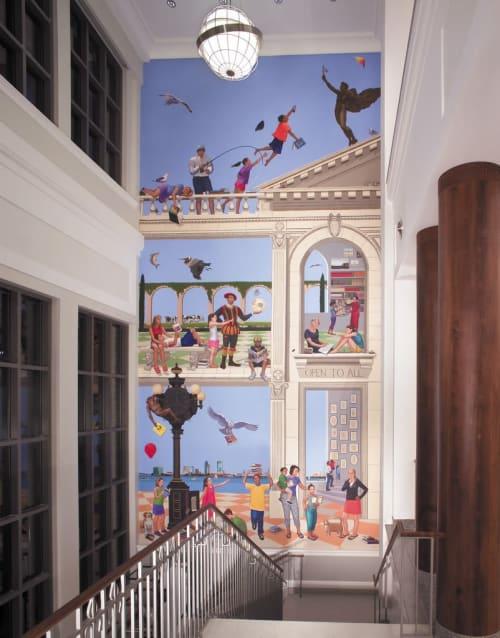 Murals by Kathryn Freeman seen at Jacksonville Public Library Main, Jacksonville - Jacksonville Library Murals